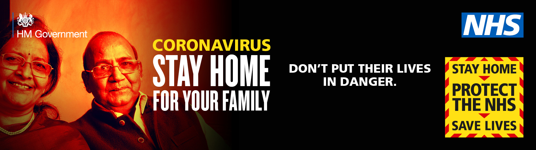 Coronavirus.  Stay home for your family.  Don't put their lives in danger.  Stay home, protect the NHS, save lives