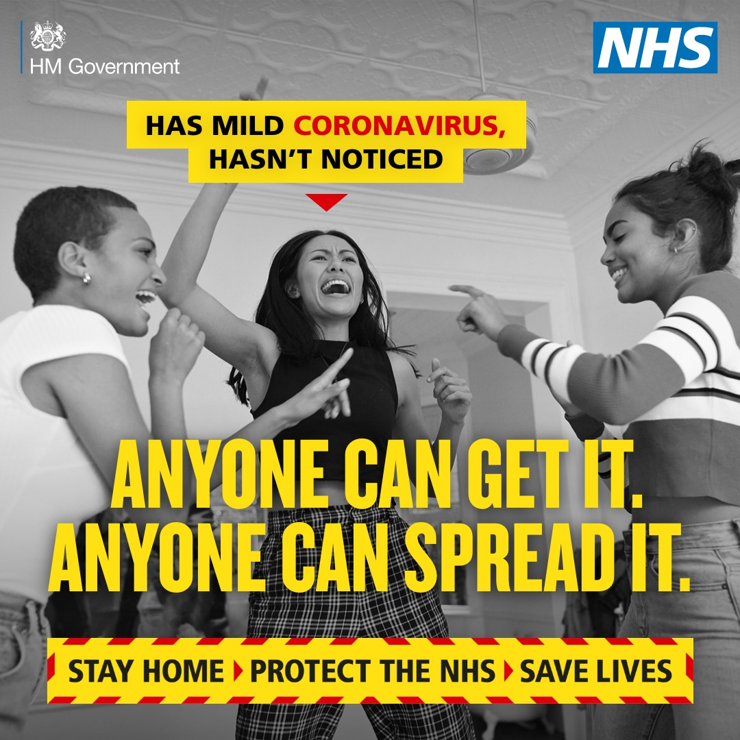 Anyone can get it. Anyone can spread it. Stay home. Protect the NHS. Save Lives